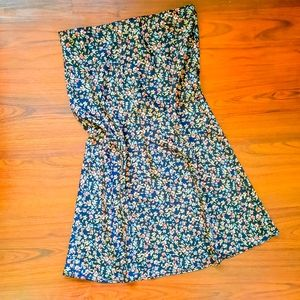 NWT LOFT black floral pull on midi skirt